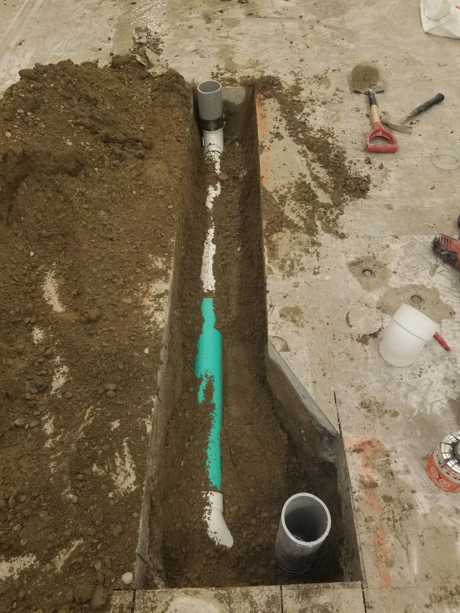 Newly installed pipe covered with mud