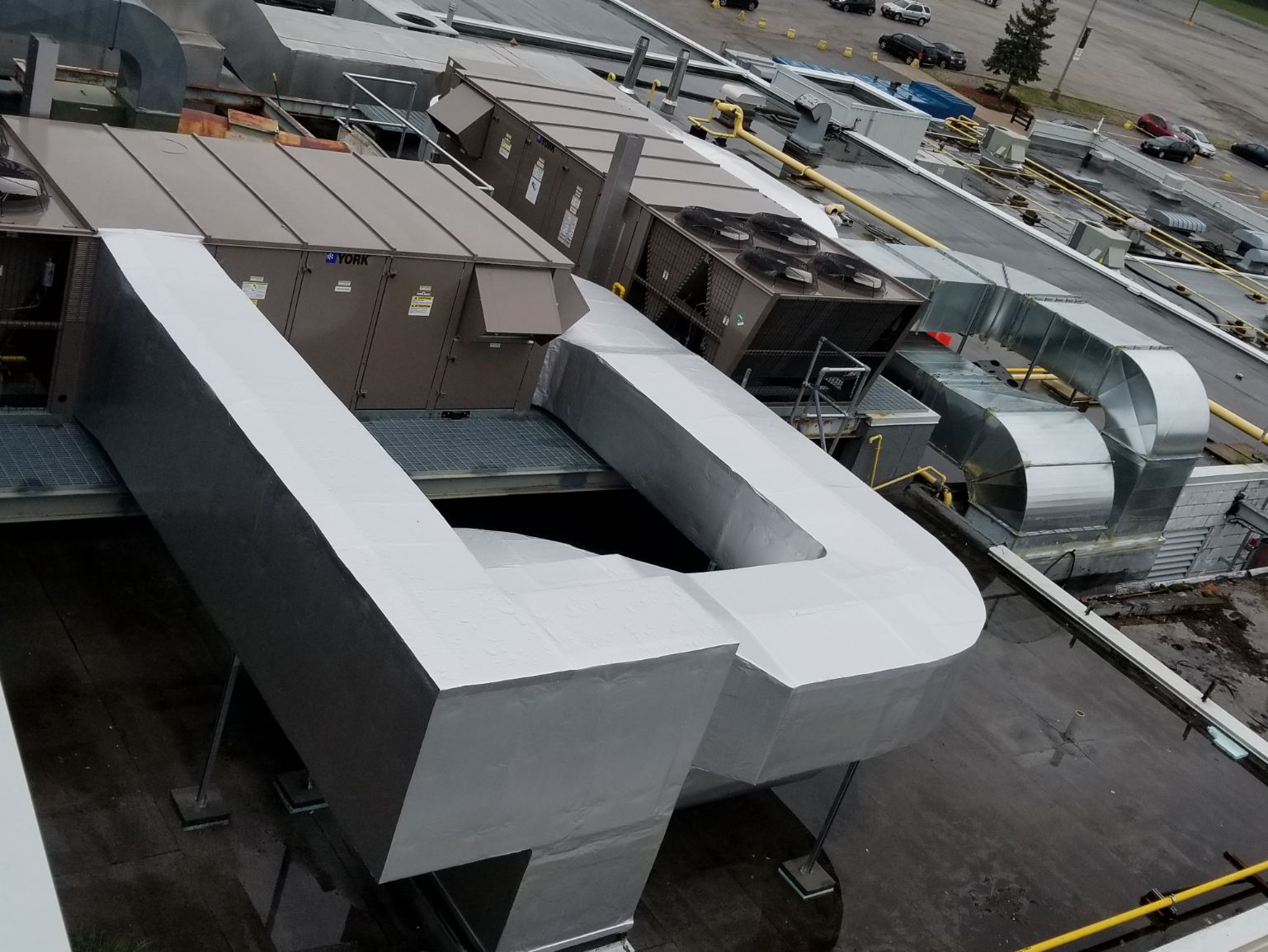 Top view of commercial ventilation system