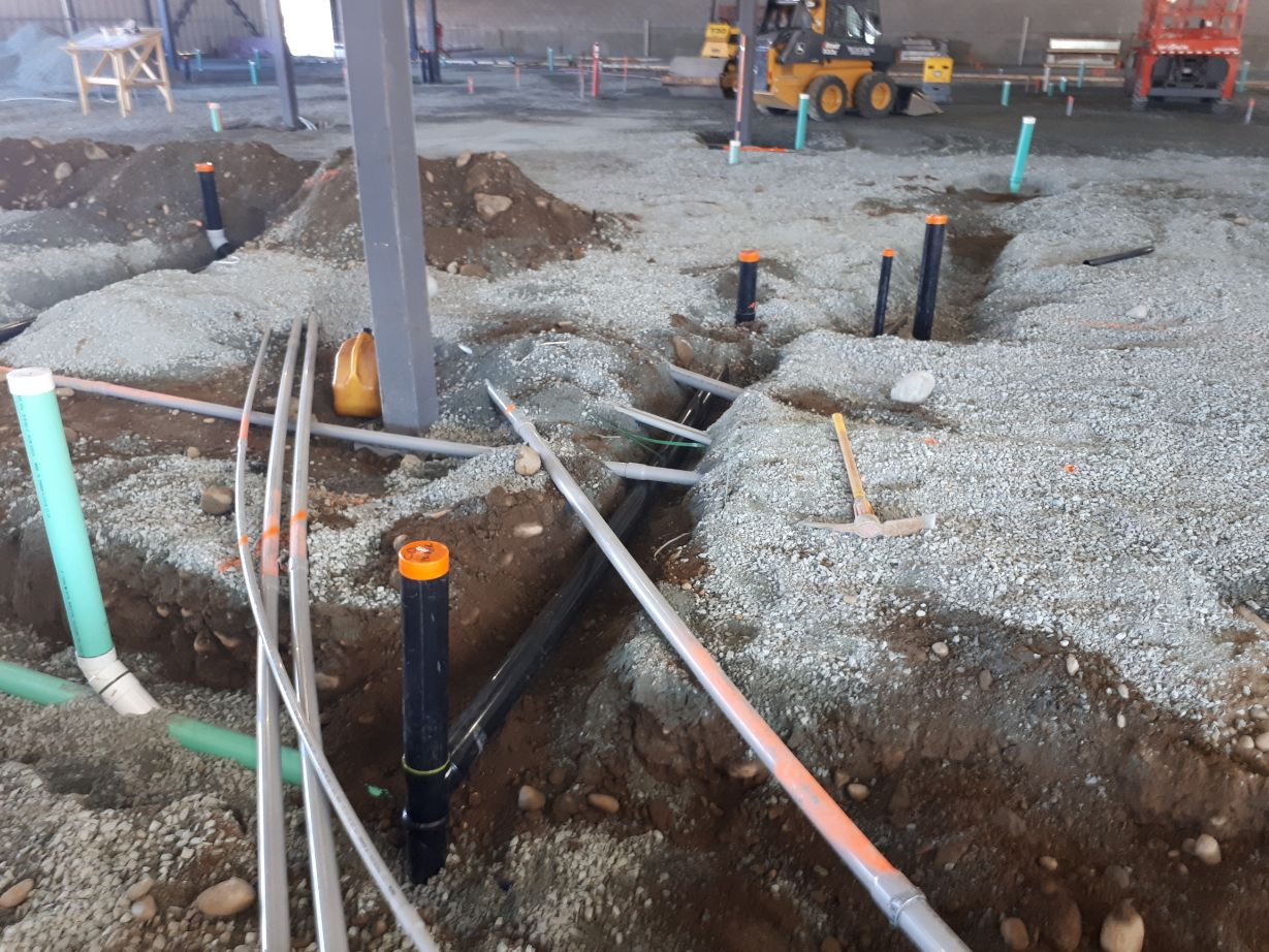 Network of pipes being installed