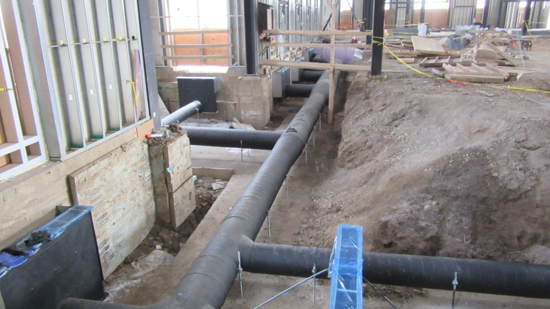 Newly installed network of pipes