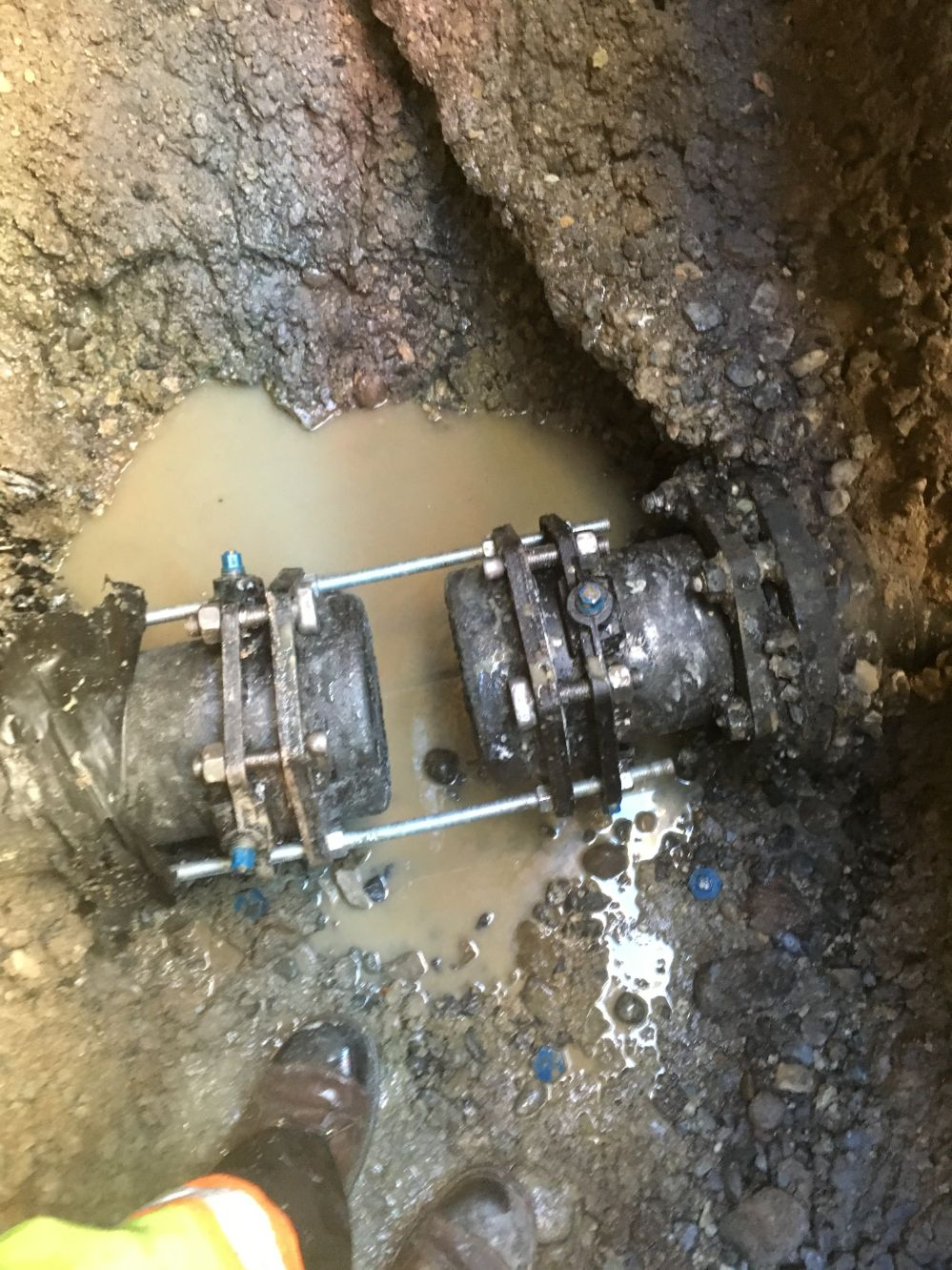 sewer line during repair